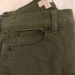 J. Crew Pants - Olive green tooth pink skinny pants, 25 J.Crew